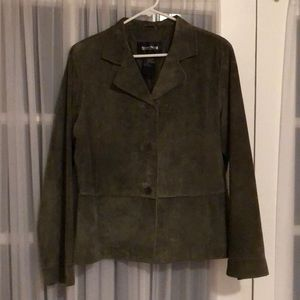 Olive green suede leather blazer